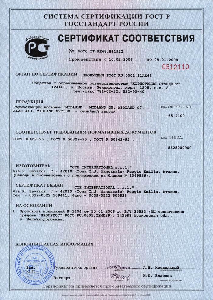 Сертификат соответсвия Alan
